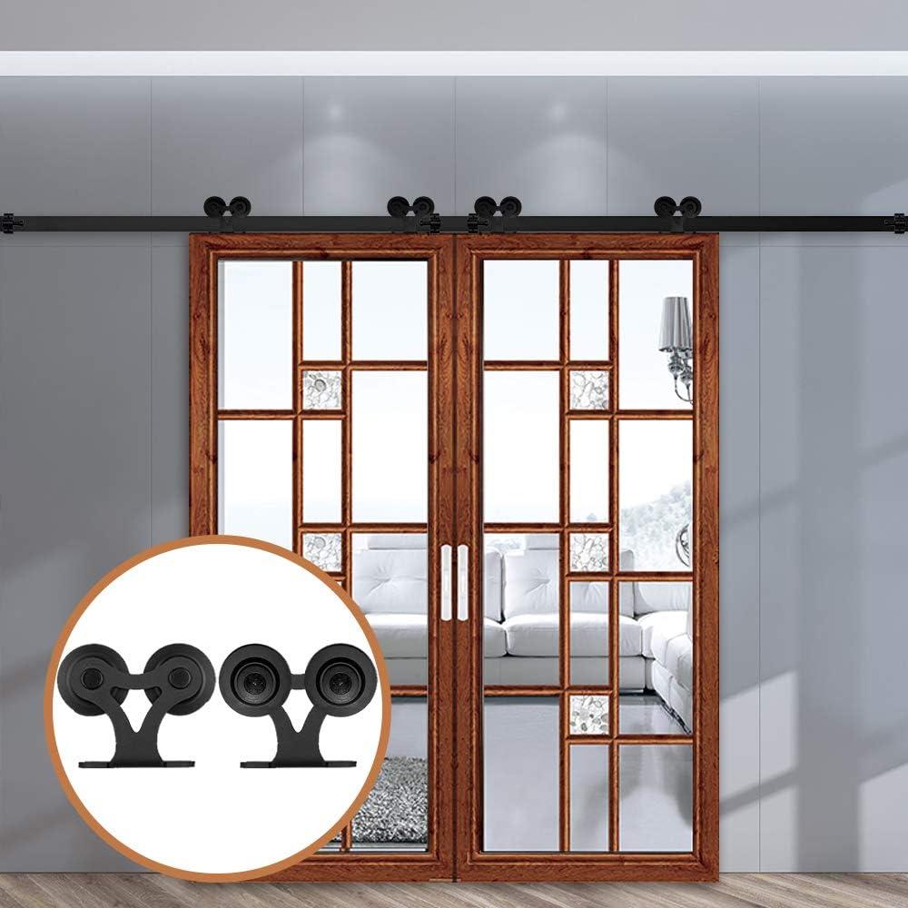 LWZH kit de riel para puerta corrediza de granero de 9.6 pies para puerta doble en forma de T con dos ganchos de rodillos (cada puerta mide 28.8 pulgadas): Amazon.es: Bricolaje y
