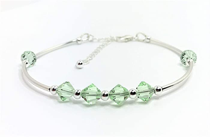 e400e0953 Handmade Peridot Green Swarovski Crystal Sterling Silver Tube Adjustable  Bracelet: Amazon.co.uk: Handmade