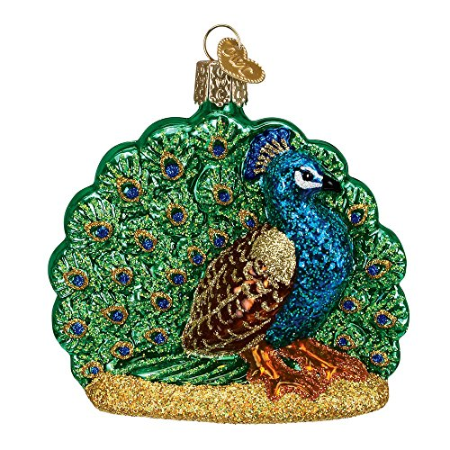 Old World Christmas Glass Blown Ornament with S-Hook and Gift Box, Bird Collection (Proud Peacock)