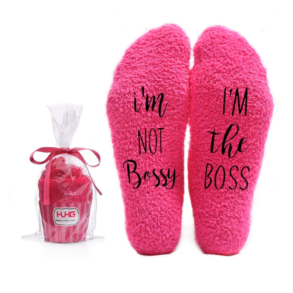 I'm not Bossy, I'm the Boss Funny Socks – Cool Pink Fuzzy Novelty Cupcake Packaging for Her – Gift Idea for Mom, Wife, Sister, Friend, Aunt or Grandma – Birthday, Christmas, Anniversary – 1 Pair