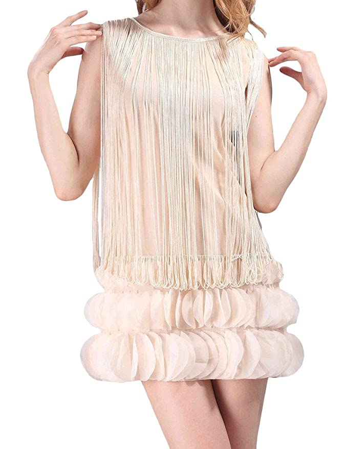 Amazon.com: Hblld Womens Tassel Petals Party Prom Flapper Cocktail Dress Ball Gowns Beige: Clothing