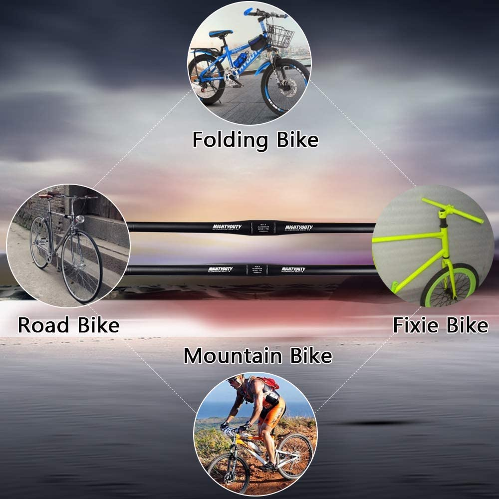Aluminum Alloy Small Straight Handlebar MTB Mountain Road Bike Handlebar Folding Bicycle Handlebar(31.8X620MM,25.4X600MM,Black) MIGHTYDUTY Bicycle Handlebar