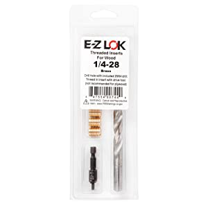 E-Z LOK 400-428 Threaded Inserts for Wood, Installation Kit, Brass, Includes 1/4-28 Knife Thread Inserts (5), Drill, Installation Tool