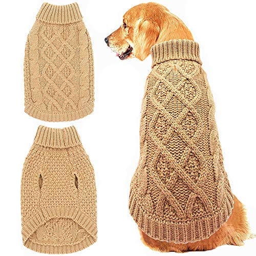 Mihachi Dog Sweater – Winter Coat Apparel Classic Cable Knit Clothes for Cold Winter,Beige,L For Sale