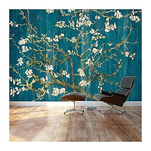 Almond Blossom by Vincent Van Gogh Floral painting on a vibrant teal wood paneled background Wall Mural