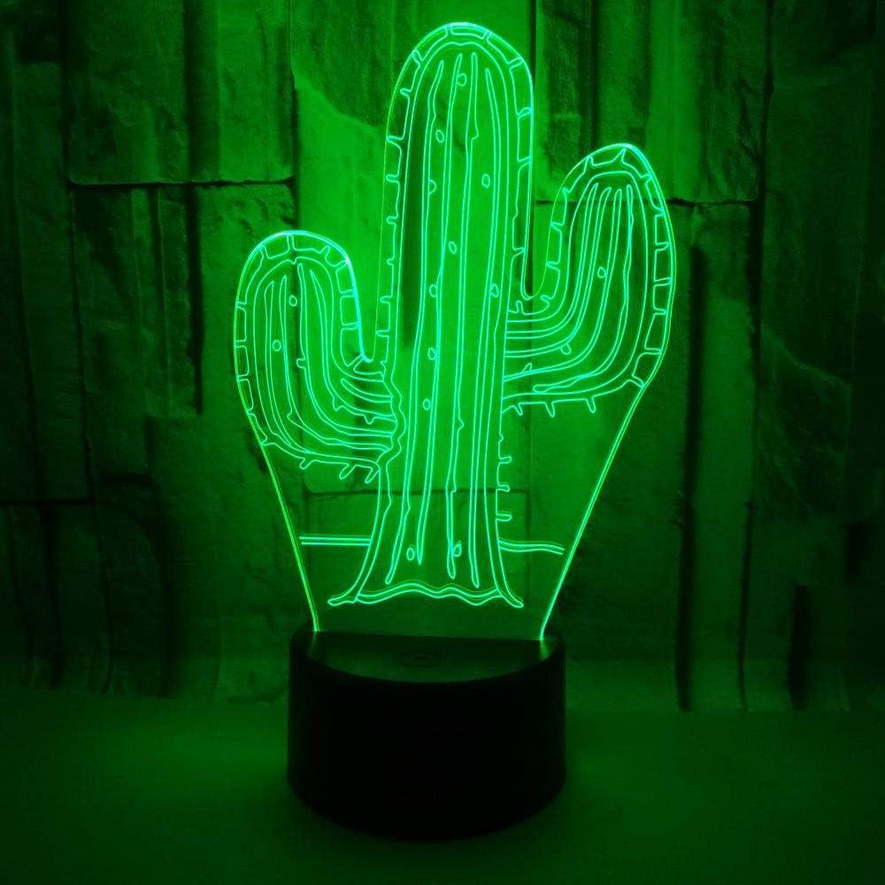 Lámpara de acrílico 3D de luz nocturna Placa de personalización de regalos empresariales Cactus 3D Decoraciones navideñas Regalo para habitación de bebé