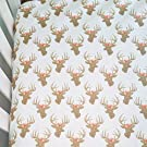 Crib Sheet - - Gold Glitz Deer with Coral Floral Crown Antlers - - Fitted Crib Sheet- Girls Nursery Decor - Crib Bedding - Nursery Bedding - Baby Bedding