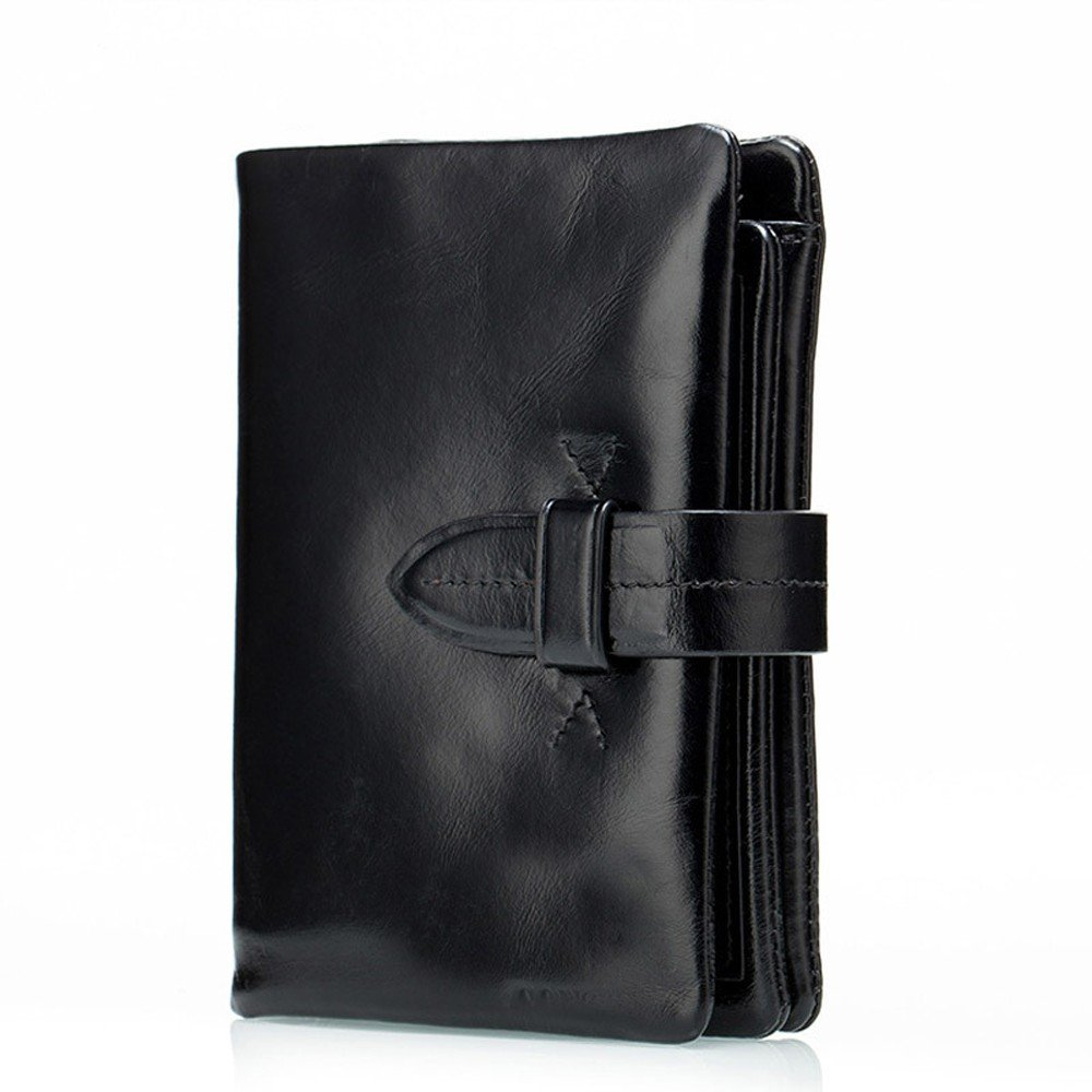 NHGY Leather purse for mens short zipper,black