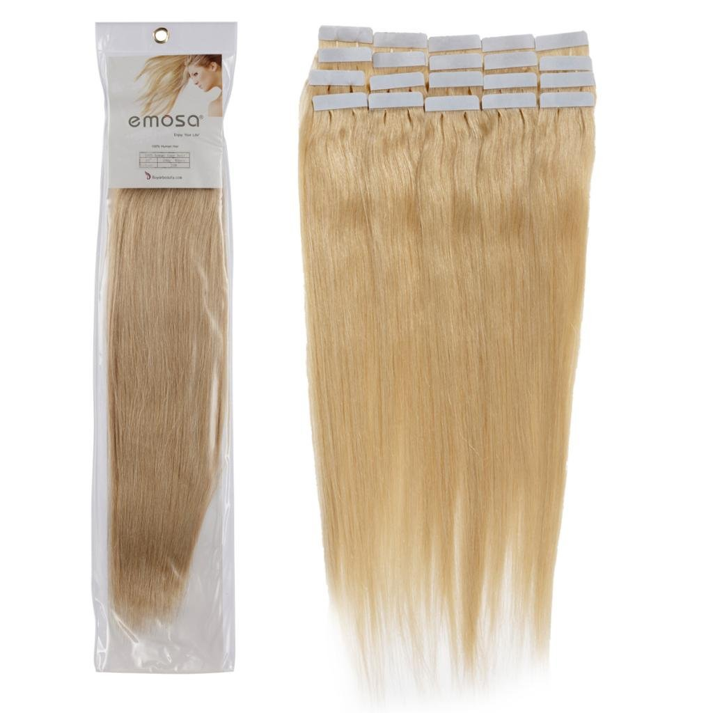 Emosa 18 inch Emosa Remy Stright Tape Skin Seamless Human Hair Extensions #24 Golden Blonde 50g