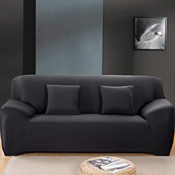 Elegant Stretch Sofa Covers 3 Seater Fabric Slipcover Protector Couch Slipcover  Black