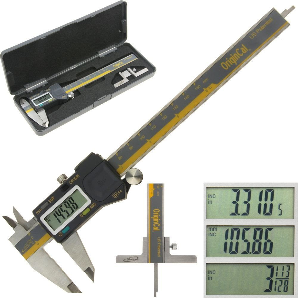 iGaging ABSOLUTE ORIGIN 0-6'' Digital Electronic Caliper Inch / Metric / Fraction IP54 Protection Bonus: Depth Gauge Base