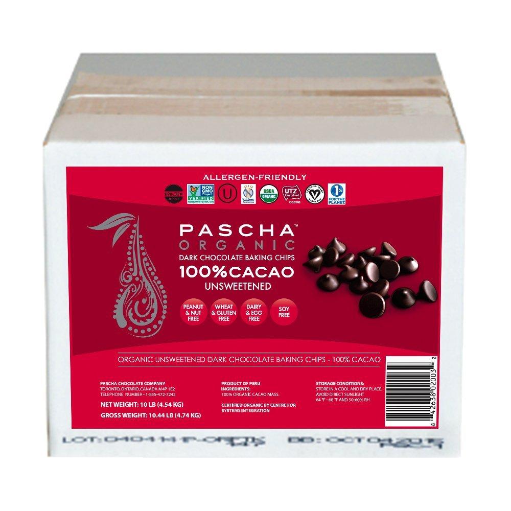 Pascha Bulk Organic Unsweetened 100% Dark Chocolate Baking Chips, 10 Pound by Pascha (Image #1)