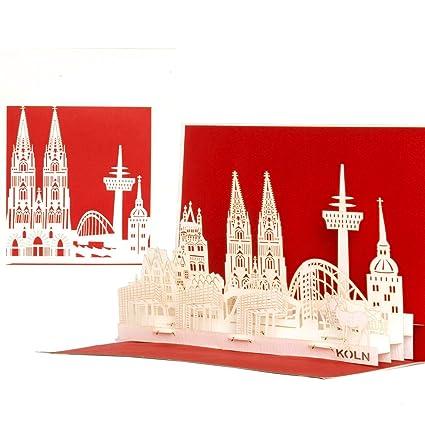 Gutscheinkarte.Pop Up Karte Kolner Skyline 3d Koln Panorama Geburtstagskarte Einladungskarte Gutscheinkarte Als Reisegutschein Einladung Geschenkgutschein