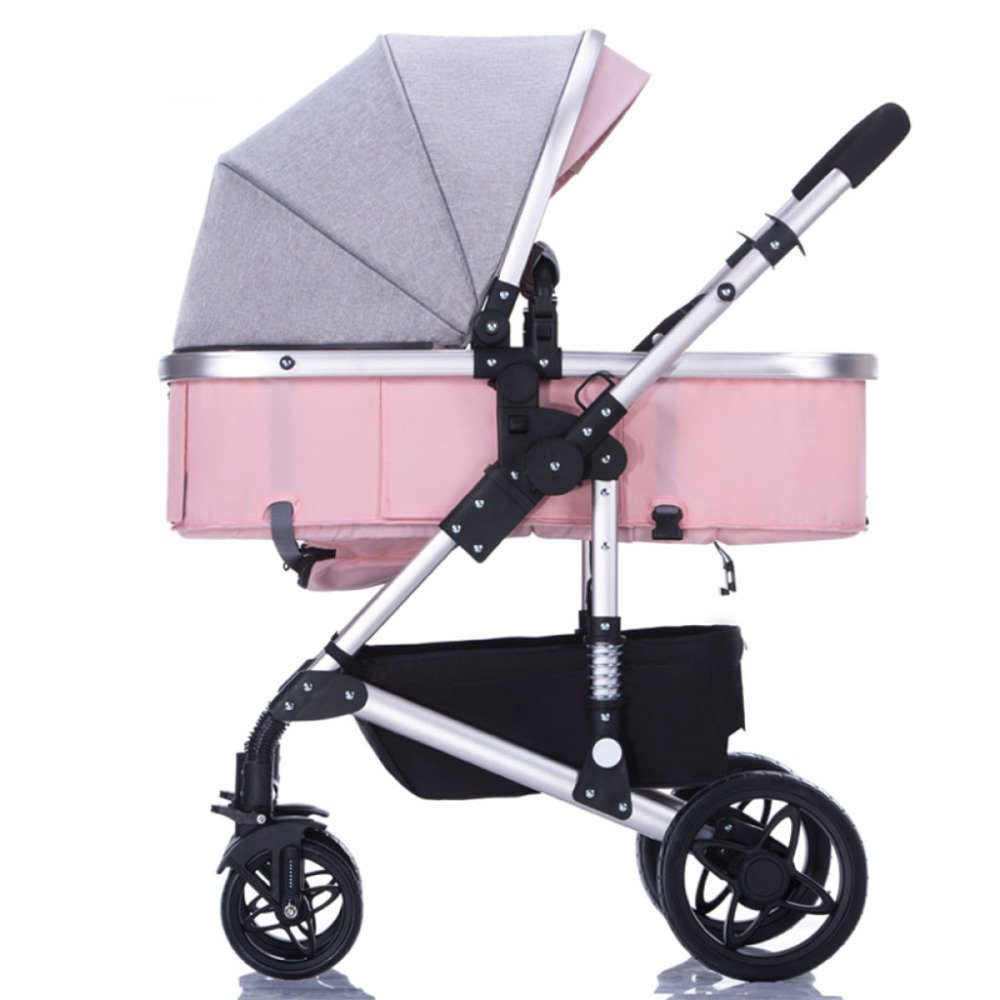 QXMEI Baby Stroller Can Sit Down, Lie Down, Lightweight Folding Shock Absorber, Portable Baby, Child Car, With Awning,Pink