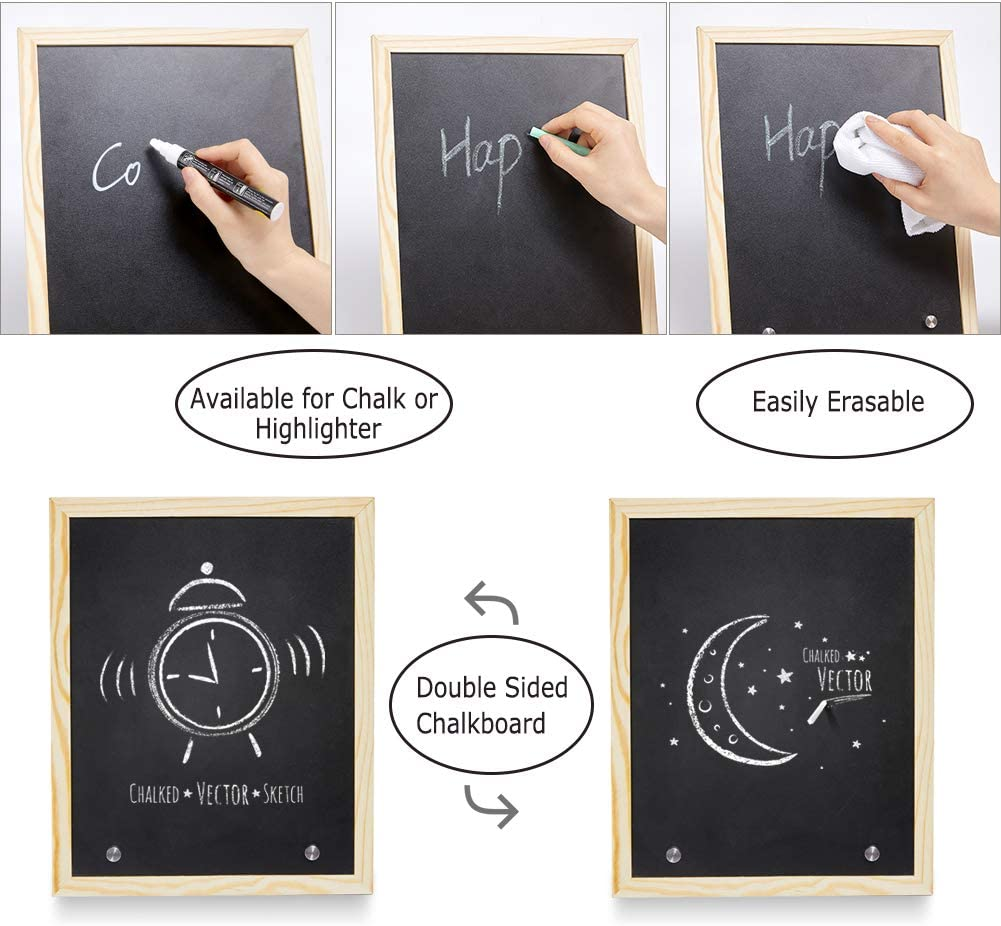 Home Kitchen Icosy Framed Chalkboard Double Sided Memo Board Tabletop Menu For Or Business Decorative Baby Milestone 12 X 10 Boards