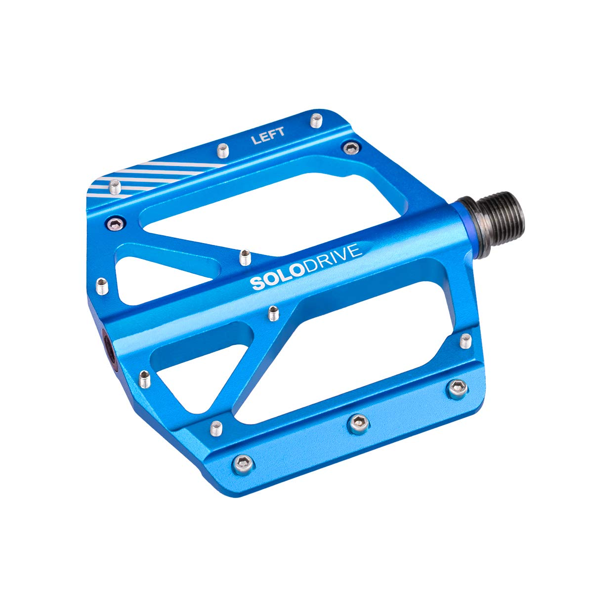SOLODRIVE Mountain Bike Flat Pedals, Low-Profile Aluminium Alloy Bicycle Pedals, Light Weight and Thin Platform(Blue)