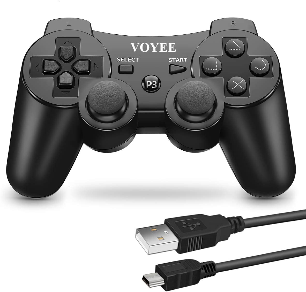 VOYEE PS3 Controller Wireless for Sony Playstation 3 with Upgraded Joystick/Battery/Motors (Black)