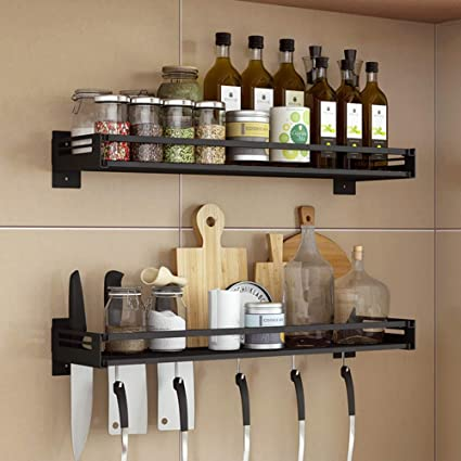 Mensola da cucina Portaoggetti Portaoggetti Porta scaffali per spezie,Portapiatti in acciaio inossidabile senza punzonatura per cucina