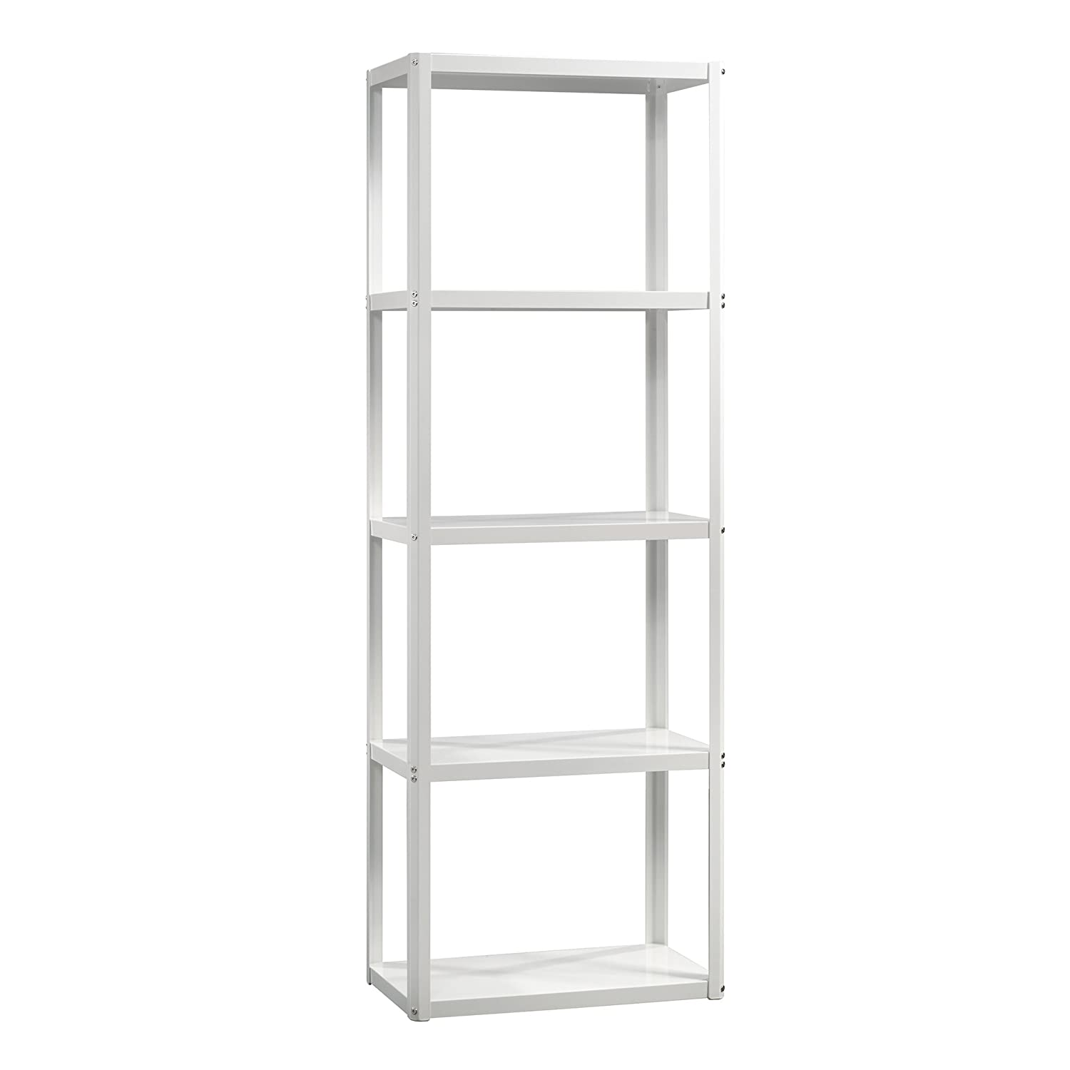 Amazon com sauder 414972 harvey park tower bookcase l 24 02 x w 14 02 x h 69 72 arctic white finish kitchen dining