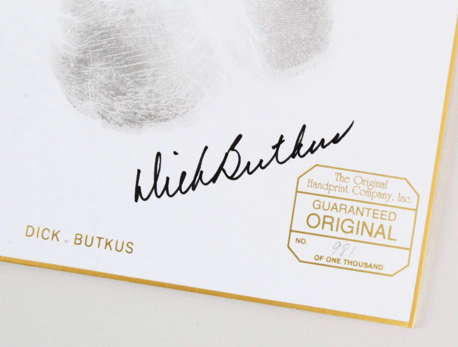 Gale Sayers & Dick Butkus Signed Hand Prints Bears – COA