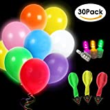 LED Light Up Balloons 30 Pack Mixed Colors Flash Latex Glow In The Dark Balloons - Premium Party Lights for Christmas Party, Birthday, Wedding Decorations - Fillable with Helium, Air, Water by DaKoza