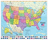 CoolOwlMaps 2018 United States Wall Map Poster with State Flags - Large 36''x30'' Rolled Paper