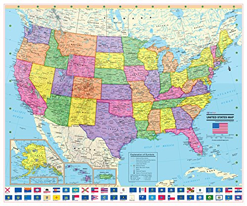 CoolOwlMaps United States Wall Map Poster with State Flags - 29