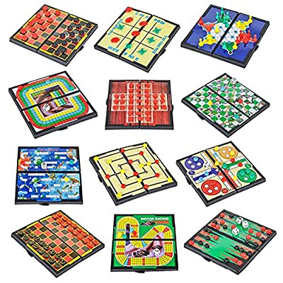 """4E's Novelty 12 Bast travel sized board games. These Magnetic Games Set Contains all of your classic favorites: Chess, Checkers, Tic-tac-toe, Backgammon and Chinese checkers are included. 5"""","""