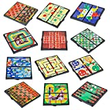 4E's Novelty 12 Bast travel sized board games. These Magnetic Games Set Contains all of your classic favorites: Chess, Checkers, Tic-tac-toe, Backgammon and Chinese checkers are included. 5'',
