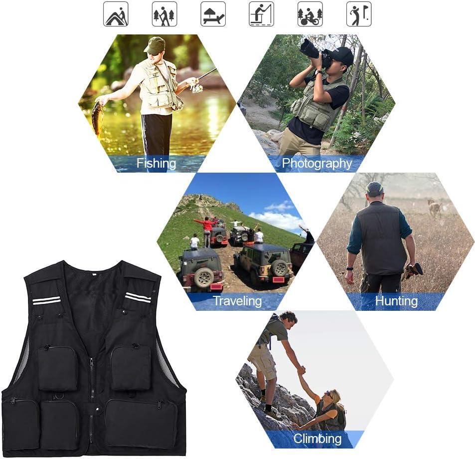 Lixada Anglerweste Outdoorweste Herren /Ärmellos Angeln Jacke Multi-Taschen Jagd Fotografie Wandern Klettern