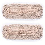 QIPENG Microfiber Dust Mop Head Refills Pack of 2 for Hardwood Tile Laminate & Stone Floors (18'')