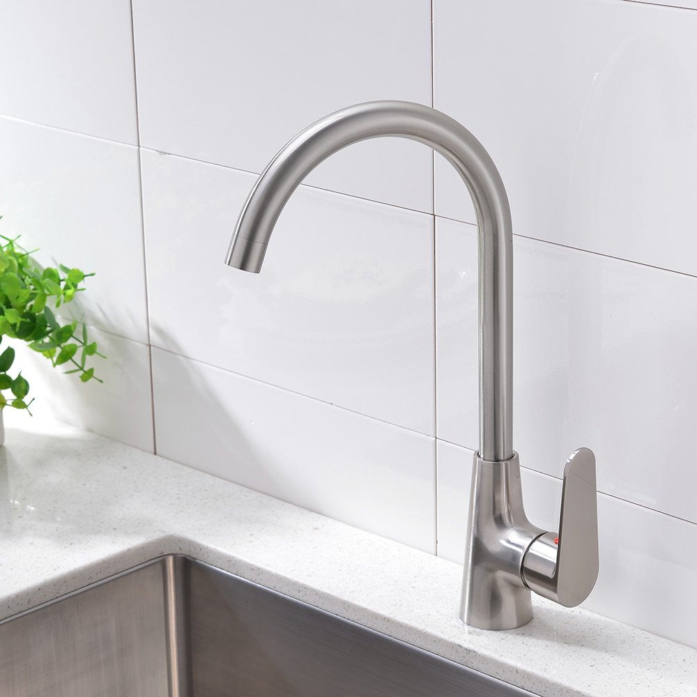Details about 360 Degree Swivel Spout Brushed Nickel Kitchen Sink Faucet  Stainless Steel Tap