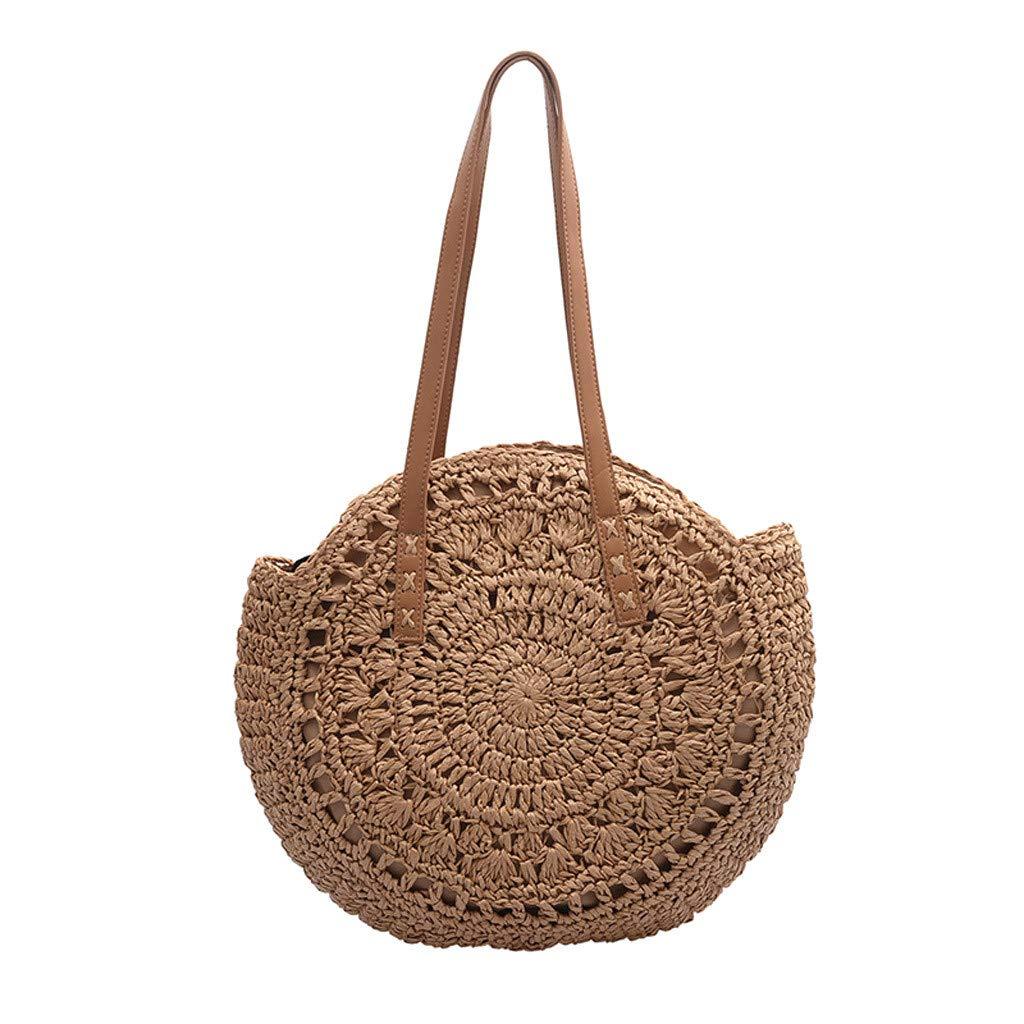 DreamedU Tote Bag for Women Shoulder Bag Large Straw Beach Insulated Summer Cute Cooler Travel for Girls Ladies (Khaki)