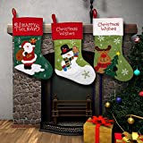 Christmas Stockings for Women Men Adults Kids Girls Boys Cute Embroidered Stockings for Hanging Featuring Santa Snowman Reindeer Snowflakes Red and Green Design for Holiday Decorations Fireplace