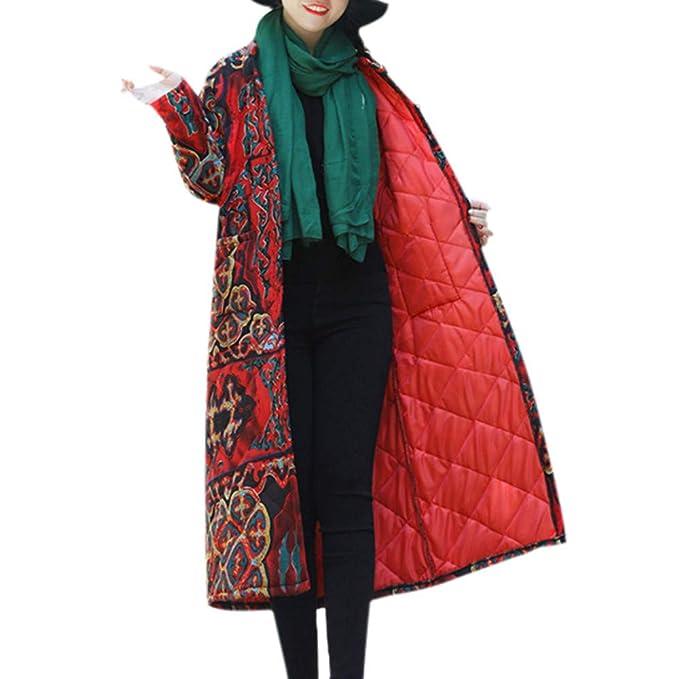 Amazon.com: AOJIAN Women Jacket Long Sleeve Outwear Vintage Folk Custom Print Buttons Quilted Maxi Coat: Clothing