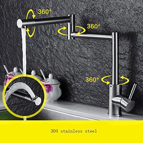 キッチンシンク水栓シンプル304ステンレス鋼ホットとコールドウォッシュ洗面器の蛇口キッチン折りたたみ蛇口