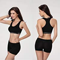 St. Lun Women Seamless Racerback Sports Bra Top Yoga Fitness Padded Stretch Workout,Variations:black M