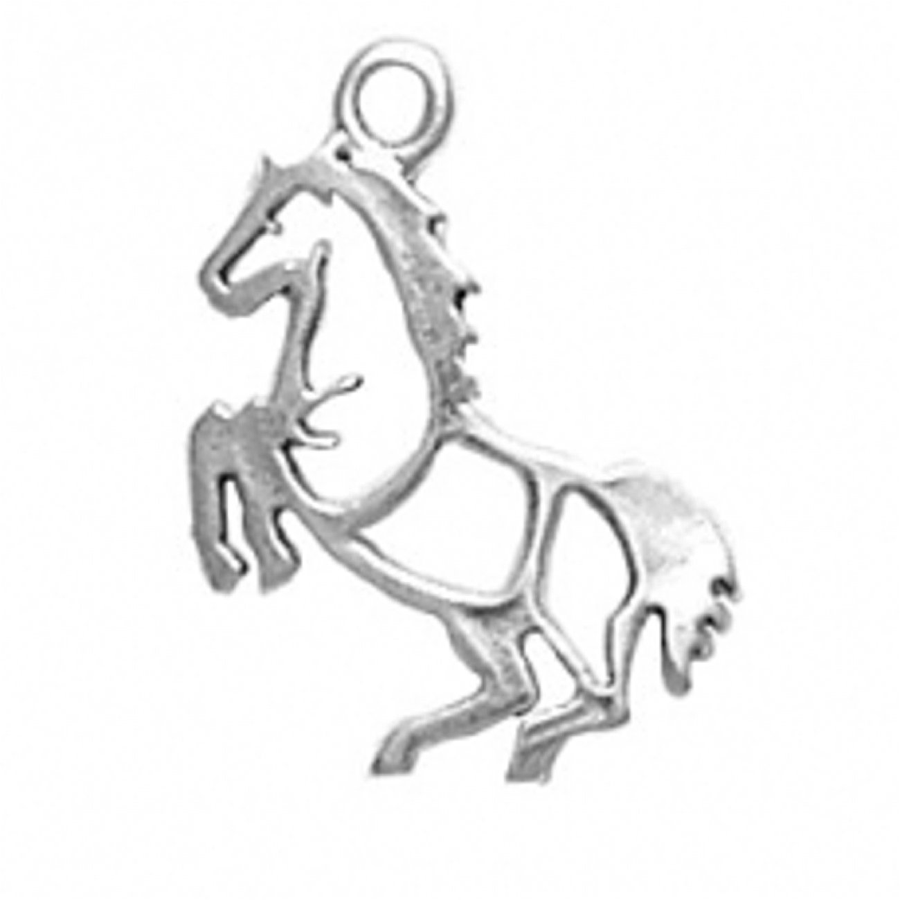 Sterling Silver Girls .8mm Box Chain Rearing Stencil Outlined Horse Pendant Necklace