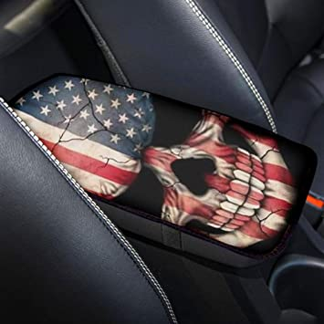 POLERO American Flag Skull Print Auto Center Console Armrest Pad Seat Cover Universal Soft Comfort Car Armrest Box Cover Protector
