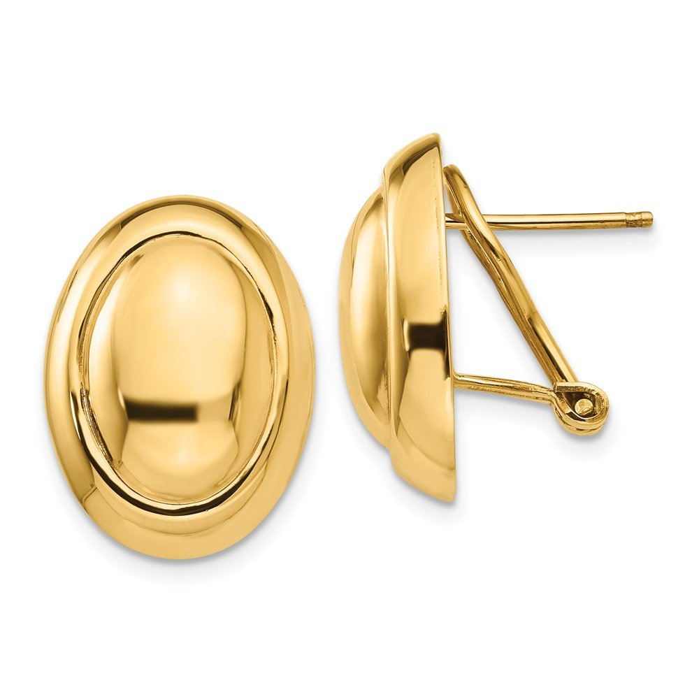 14K Yellow Gold Polished Button Omega Back Post Earrings
