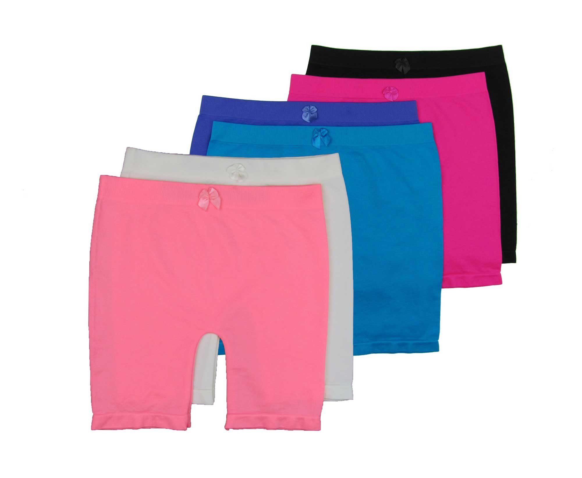 Gilbins Girls Above Knee Seamless Solid Colors Nylon Bike Shorts for Sports Or Under Skirts, 6 Pack (Medium(8-11), Solid)