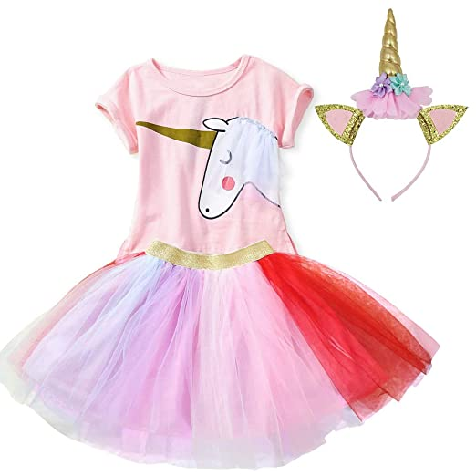 592dce91fd67 Amazon.com: BGFKS Girls Birthday Party Supplies Unicorn Dresses Sets Pink  Tops,Layered Rainbow Tutu Skirt and Unicorn Headband Outfits: Clothing
