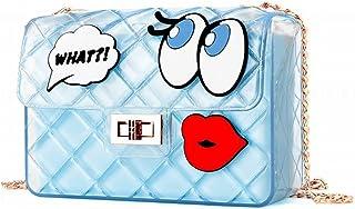 Mignon Petite Fille Sac Épaule Transparente Messenger Grands Yeux Mode Sacs à Main Sac de Gelée , bleu