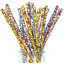 175ct Floral Paper Straws Drinking Disposable Assorted Colors for Wedding Birthday Party Events and Crafts 7 3/4''