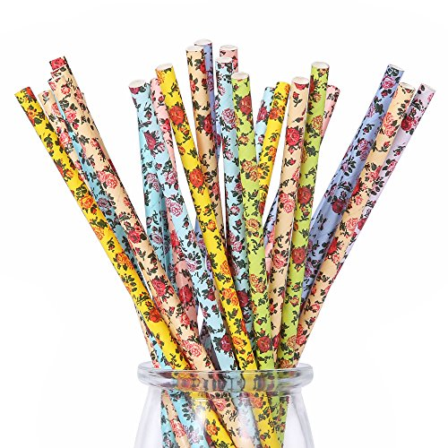 175ct Floral Paper Straws Drinking Disposable Assorted Colors for Wedding Birthday Party Events and Crafts 7 3/4