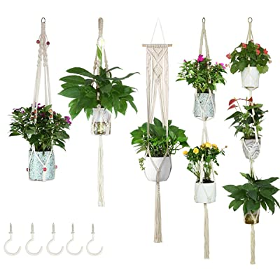 Large Macrame Plant Wall Hanging IndoorOutdoor Gardening Macrame Hangers Gift Macrame Plant Hanger 5 piece set with hooks Room decor