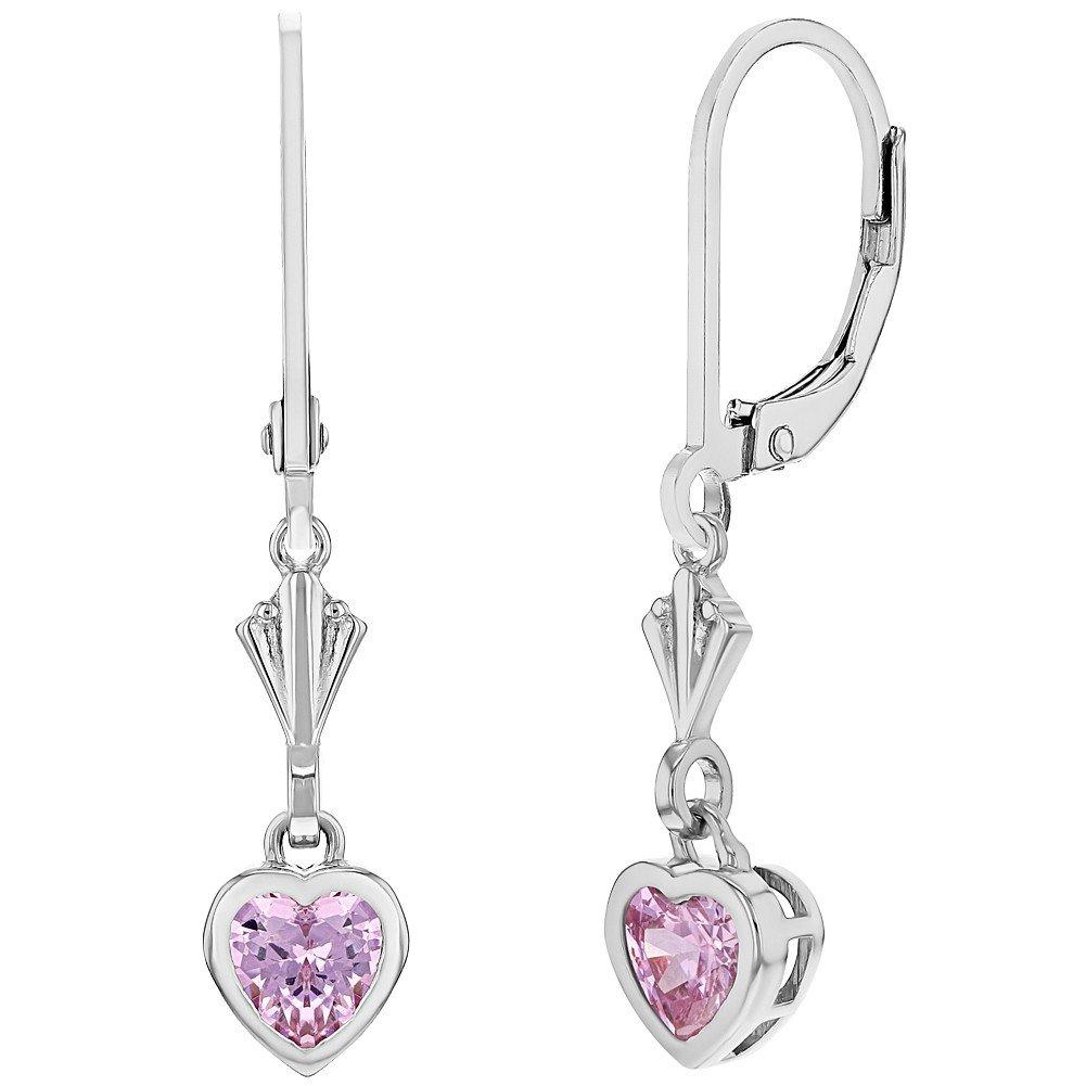 925 Sterling Silver Pink Heart Leverback Dangle Children's Earrings In Season Jewelry SS-03-00280