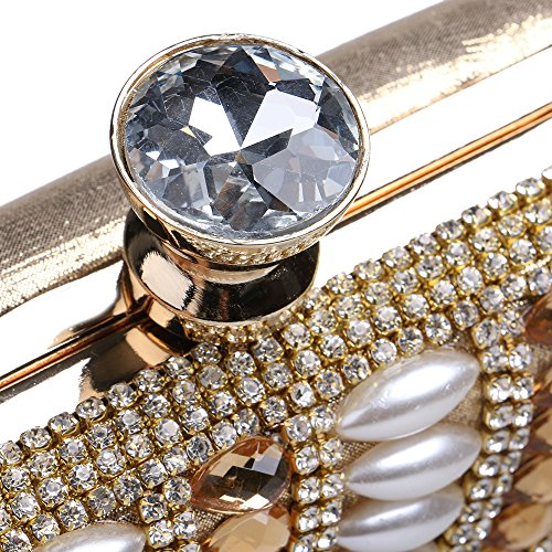 Beaded Party Bag Gold Crossbody Shoulder Wedding Handbags Pearl Banquets Diamonds Evening Clutch Bags Women's da8A6xa