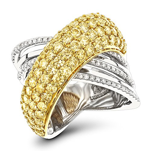 Luxurman 14K Unique White Yellow Natural 3.5 Ctw Diamond Women Cocktail Ring (White-Yellow Gold Size 7.5)