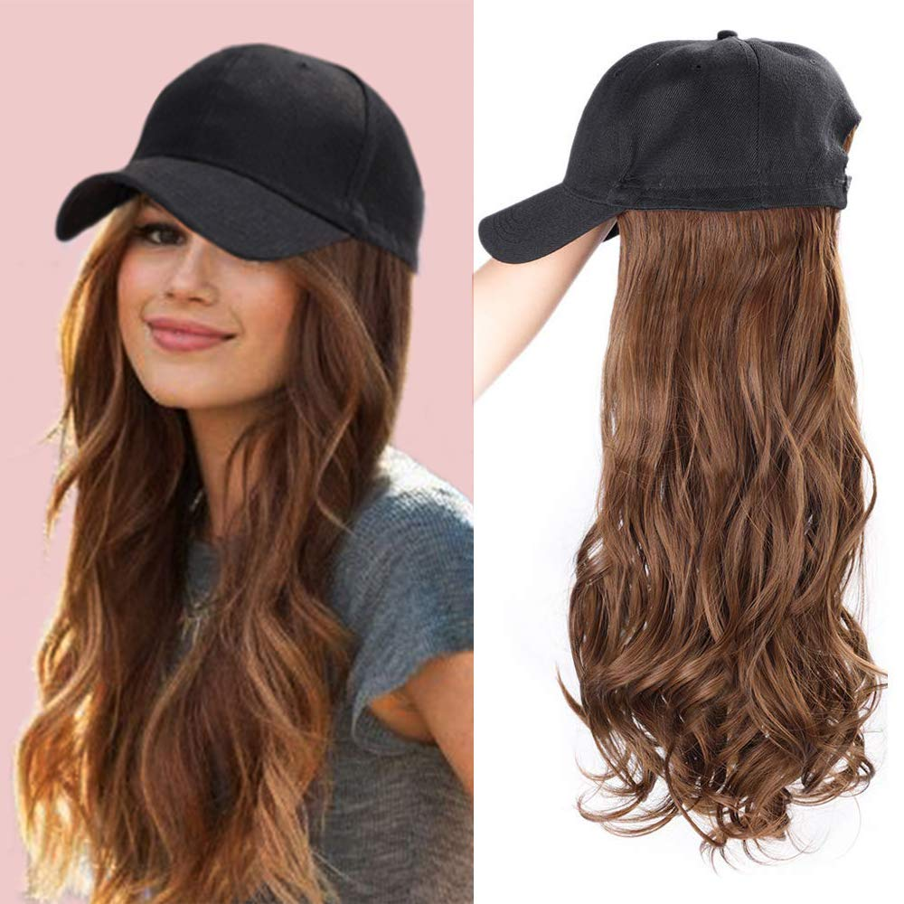 ENTRANCED STYLES Baseball Cap with Hair Synthetic Hats with Hair Attached Black Hat with Hair Attached Long Wavy Hair for Women Daily Party Use(8/30) by ENTRANCED STYLES